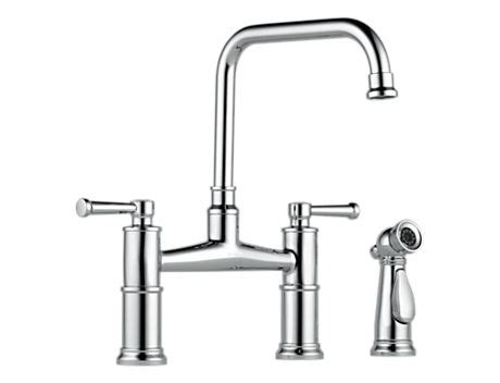 two handle bridge style kitchen faucet with matching side spray premier faucet brizo 62525lf artesso two handle bridge kitchen faucet