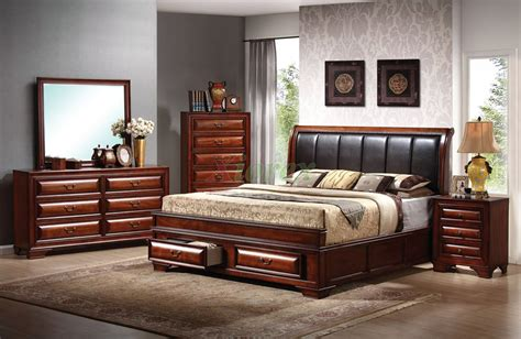 platform bedroom furniture set with leather headboard beds