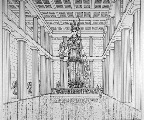 parthenon athens interior reconstruction drawing chryselephantine statue by phidias 447bc