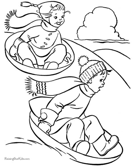 christmas coloring pages sledding fun