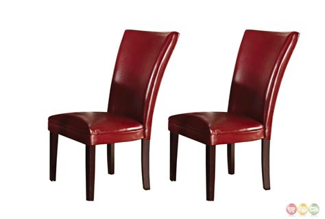 Set Of 2 Hartford Contemporary Red Leather Upholstered Upholstered Parsons Dining Chairs