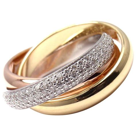 cartier pave tricolor gold band ring for