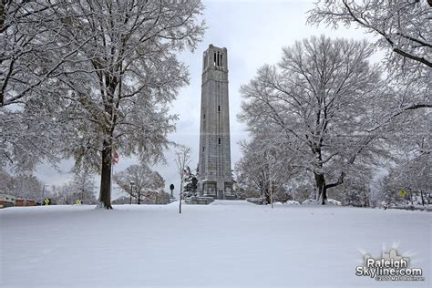 nc history of snowy christmas the nc state bell tower in the snow raleighskyline original photography and prints of