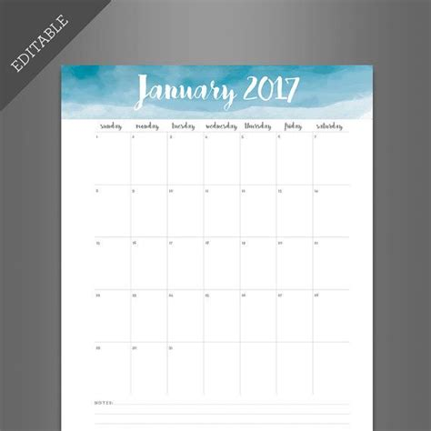 printable calendar you can edit beautiful water color calendar that you can edit yourself