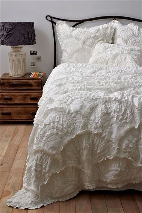 white fluffy bedding decorating