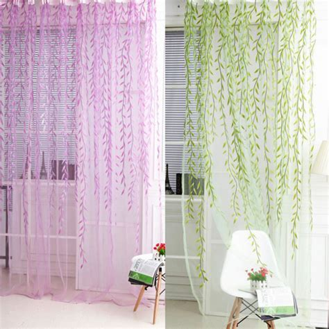 1pcs green willow sheer curtain for living room window 1x2m home textile tree willow curtains blinds voile tulle