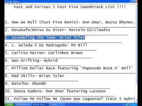 fast and furious soundtrack list fast and furious 5 fast five soundtrack list youtube