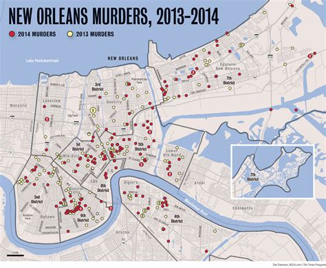 sections of new orleans map du jour new orleans murders 2013 2014 nolagraphy