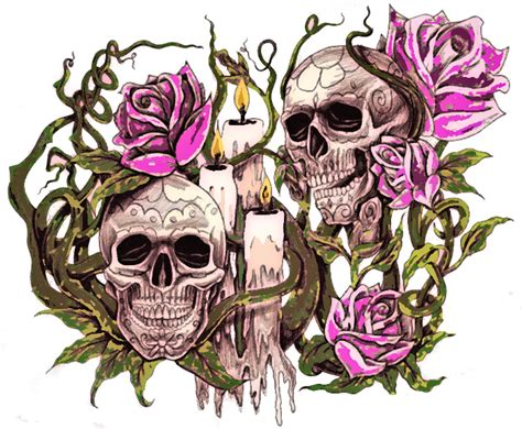 2 skulls roses and candles6 by d and d tattoodesign on