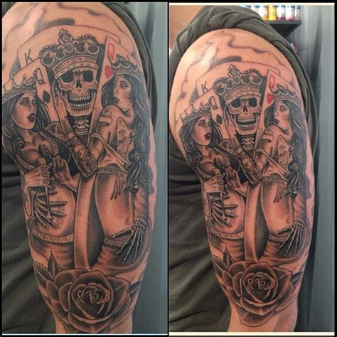 queen tattoo flash king skull queens of cards google search tattoo