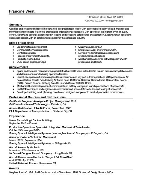 professional aerospace project manager templates to showcase your talent myperfectresume