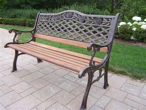 cast aluminum garden bench oakland living tea rose cast aluminum wood garden