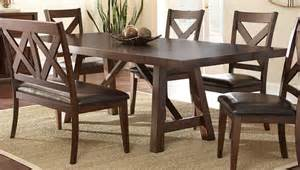 Espresso Kitchen Table Set Steve Silver Clapton 96 215 42 Rectangular Dining Table In Warm Distressed Espresso Furniture Mall