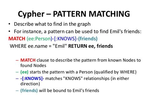 pattern matching neo4j neo4j introduction basics cypher rdbms to graph