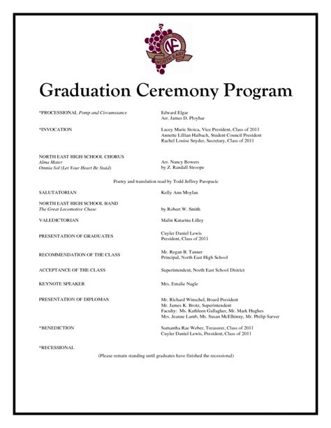 graduation ceremony program template invitation template