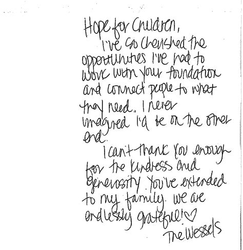 Thank You Letter Kindness I Can T Thank You Enough For The Kindness For Children Foundation New Jersey