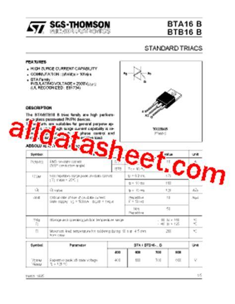 transistor a970 data sheet pdf bta16 datasheet pdf stmicroelectronics