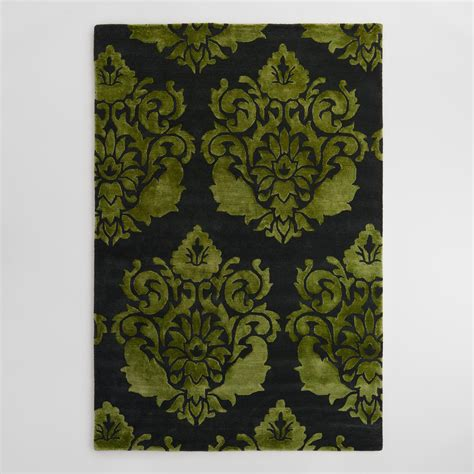 green and black area rugs green and black floral tufted wool trissina area rug world market