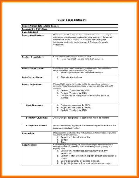 project scope document template free project scope statement exle apa exles
