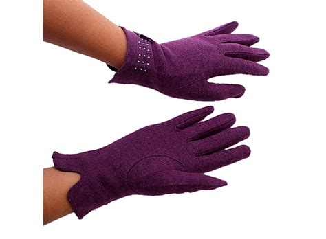 warm purple purple warm rabbit hair gloves with bowknot palm 8 5cm