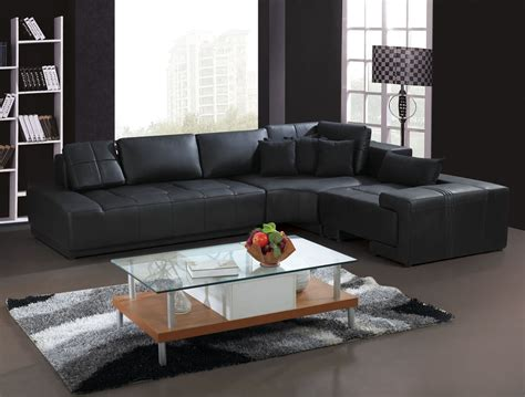 Black L Tables For Living Room Living Room Interior Design With L Shaped Black Leather Sofa Furniture And Glass Wood