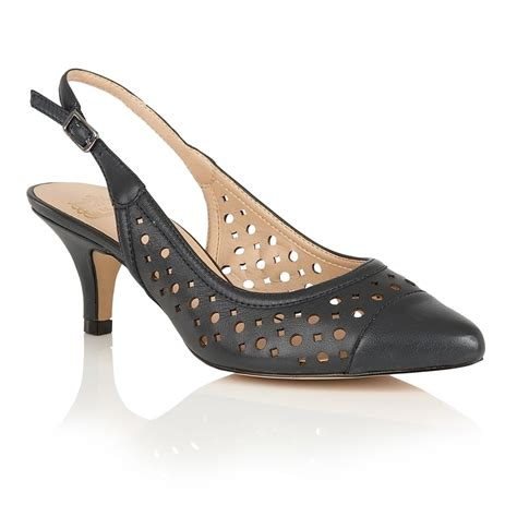 lotus shoes lotus andora navy leather sling back court shoes shoes