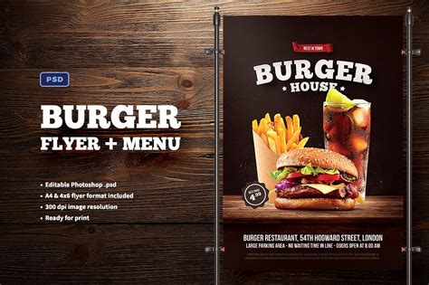 template flyer burger burger flyer menu flyer templates creative market