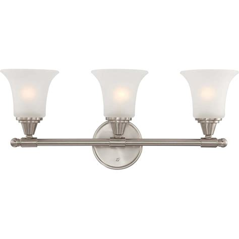 glass bathroom light fixtures glomar 3 light brushed nickel vanity fixture with frosted