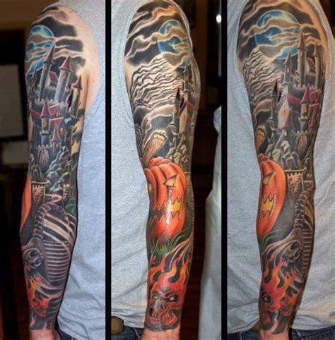 halloween tattoo sleeve 80 designs for ghoulish grandeur