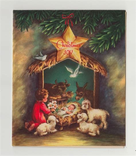 printable nativity scene christmas cards vintage greeting card christmas religious nativity animals