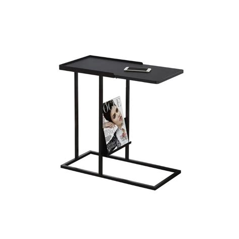 magazine end table with l metal side table with magazine rack in black i 3097