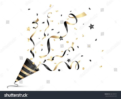Popper Falling Gold 50cm exploding golden confetti popper on transparency background stock