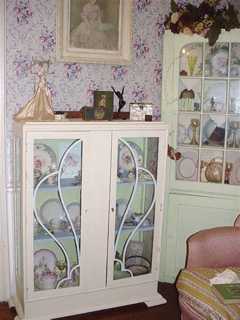 shabby chic china cabinet vintage art deco china cabinet glass doors repainted