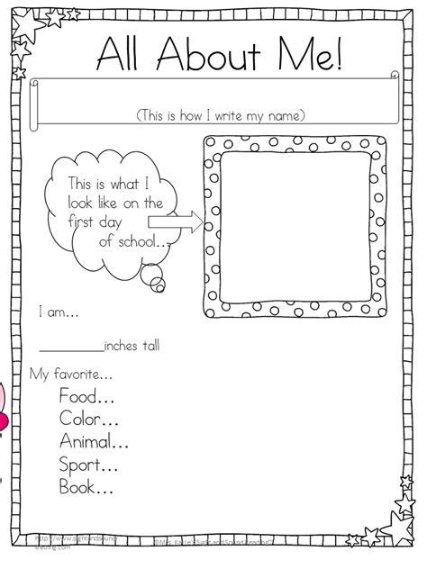 33 Pedagogic 'All About Me' Worksheets | KittyBabyLove.com
