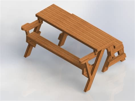 picnic table bench combo folding bench picnic table combo solidworks 3d cad