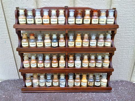 Large Spice Racks by Vintage Wagner And Sons Large Wooden Spice Rack With
