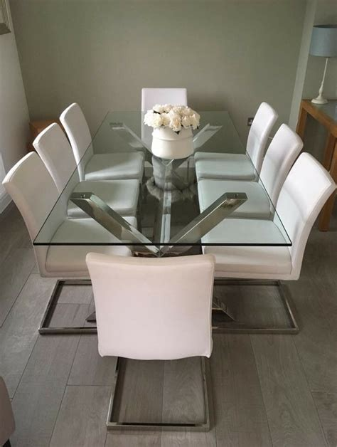 brand  show home designer large glass dining table