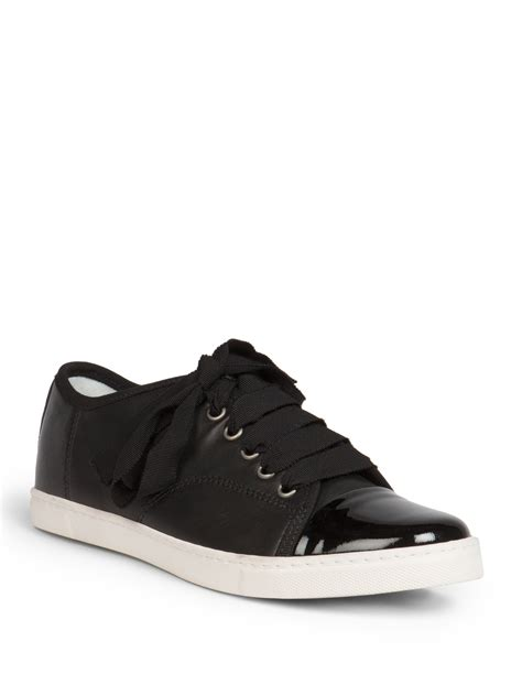 lanvin sneakers lanvin leather ribbon lace up low top sneakers in black lyst