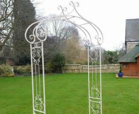 White Urn Planters by Ornate Antique White Wrought Iron Metal Rose Garden Arch