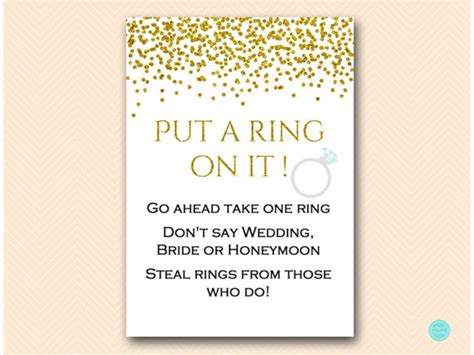 printable bridal shower ring game gold glam bridal shower games put a ring on it dont say