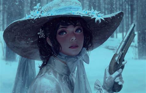 wallpaper girl gun pistol dress weapon hat art blue eyes snow face painting