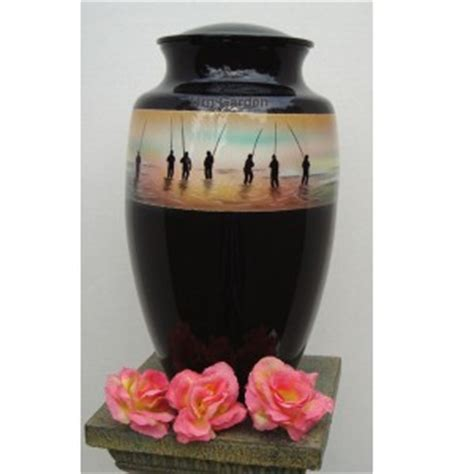 decorated fishing urn fall classic urns in the garden