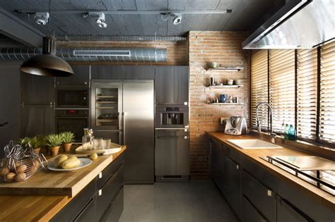 contemporary kitchen designers modern home design idea with industrial style and nature