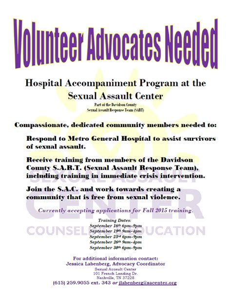 volunteer advocates needed for the hospital accompaniment
