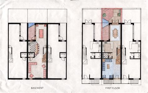 row house floor plan rowhouse plans modern studio design gallery best
