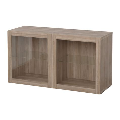 best 197 shelf unit with glass doors sindvik walnut effect