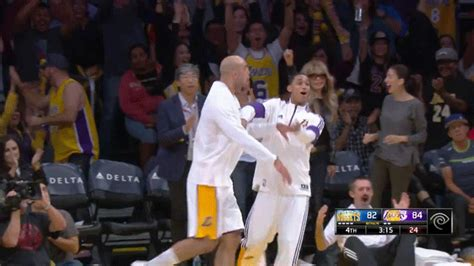 lakers bench lakers bench goes crazy after wesley johnson s towering dunk over danilo gallinari