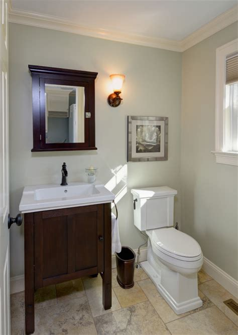 traditional half bath remodel crown molding tile floor