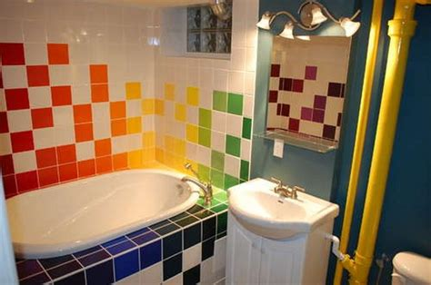 rainbow tiles paint ideas bathrooms home interior and exterior design