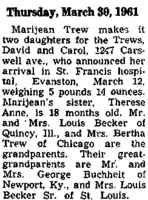 Chicago Birth Records Buchheit History